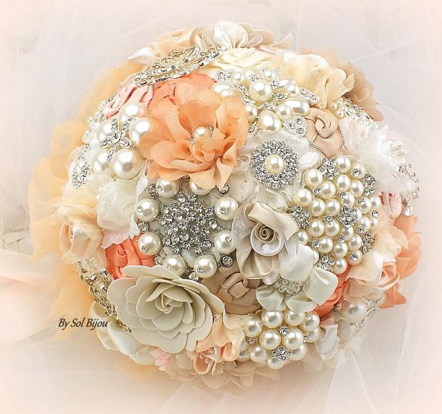 Brooch Bouquet Coral Peach Cream Blush Ivory Beige