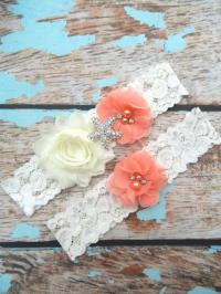 GARTER / Beach Wedding Garter / Coral Garter Set