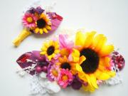sunflowers bridal comb grooms