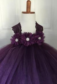 Plum Flower Girl Satin Lace Tutu Dress, Wedding Dress ...