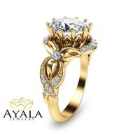 Oval Diamond Engagement Ring 14K Yellow Gold Oval