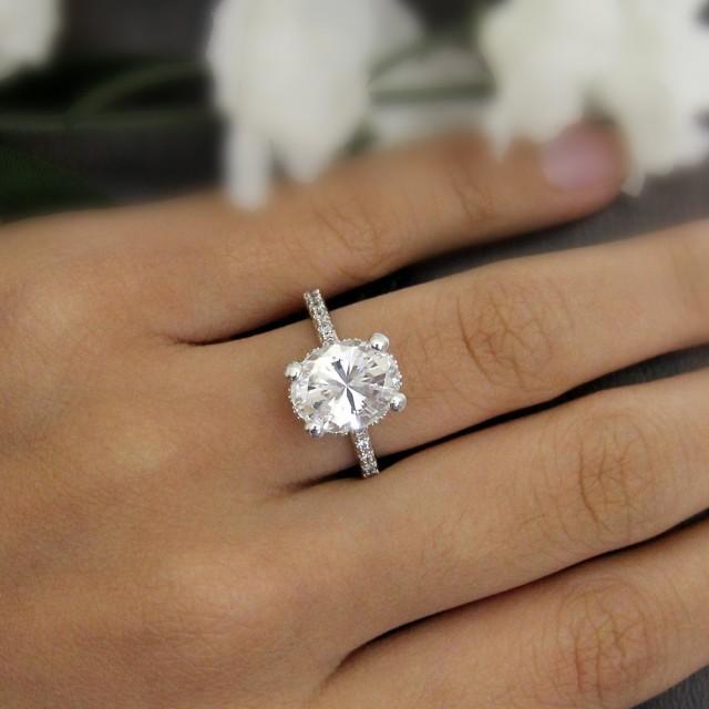 420 Ct Engagement RingOval Cut Diamond Simulant