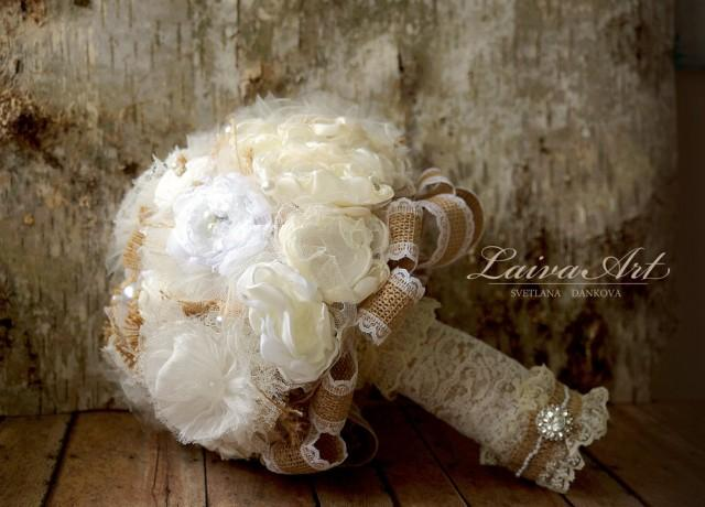 Rustic Wedding Flowers Bridal Bouquet Burlap