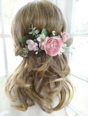 bridal hair comb pink flower