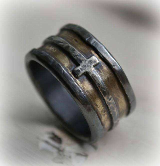 Mens Wedding Band Rustic Fine Silver Brass And Sterling
