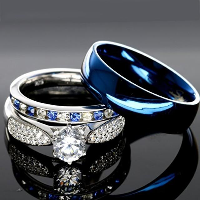 His And Hers 925 Sterling Silver Blue Sapphire Stainless
