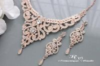 ROSE GOLD Wedding Jewelry Set, Vintage Style Bridal