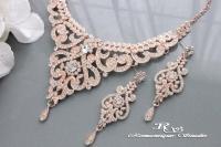 ROSE GOLD Wedding Jewelry Set, Vintage Style Bridal ...