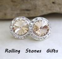 15mm, Light Silk Studs, Silver Earrings, Swarovski ...