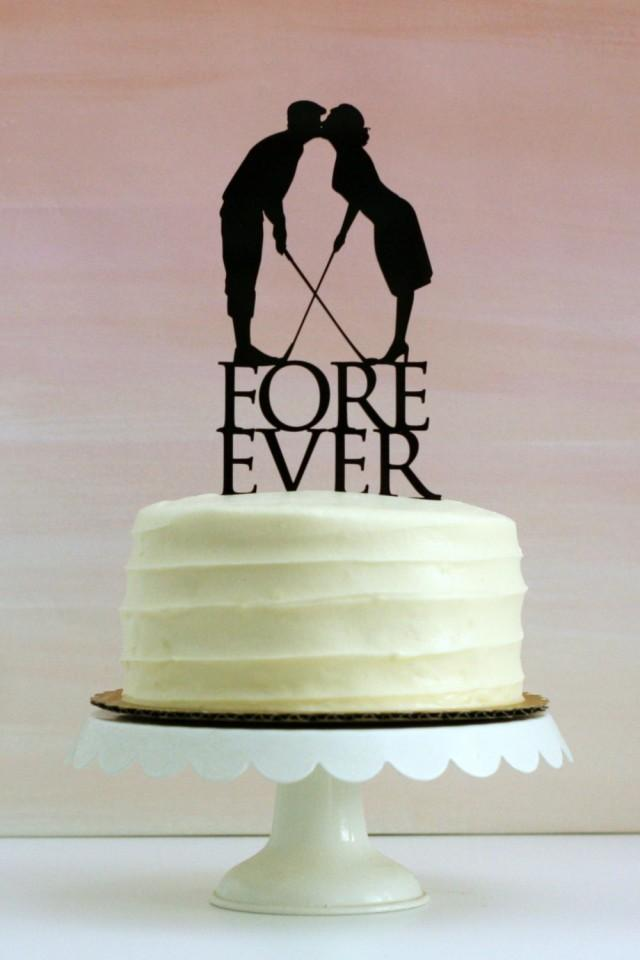 Fore Ever Golf Wedding Cake Topper With Silhouettes  MADE