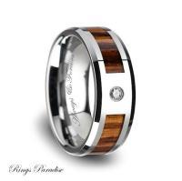 Tungsten Wood Wedding Band, Tungsten Wood Ring ...