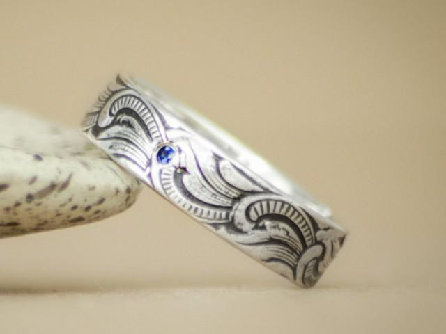 Art Nouveau Mens Engagement Ring In Sterling Silver