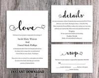 DIY Wedding Invitation Template Set Editable Word File ...