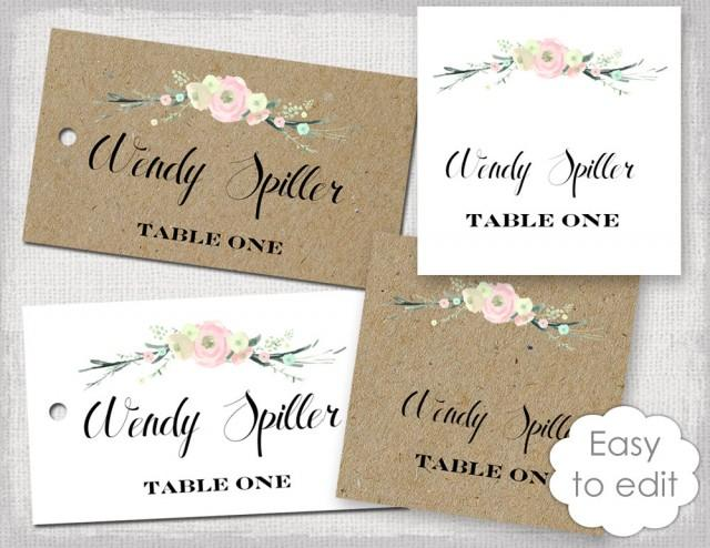 Rustic Name Card Template Rustic Flowers Blush Pink