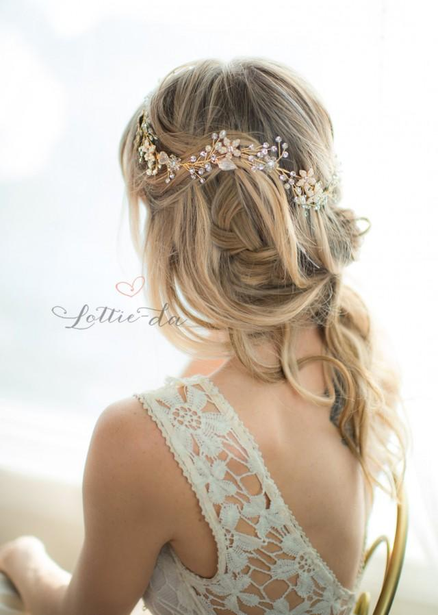 Gold Boho Flower Crown Wedding Headpiece Bridal Hair Vine
