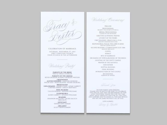 double sided wedding programs church