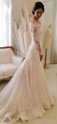 Elegant Lace Wedding Dresses White Ivory Off The Shoulder ...