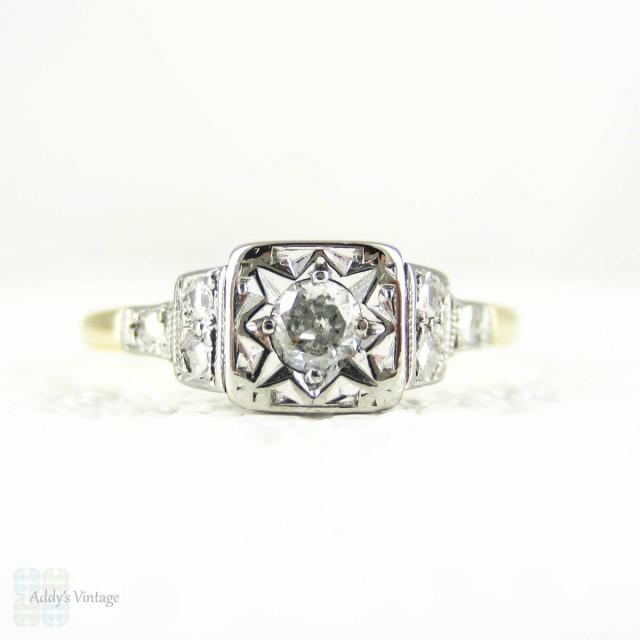 1940s Diamond Engagement Ring, Classic Round Brilliant Cut