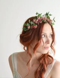 Flower Headpiece, Pink Flower Crown, Ivy Headband, Rose ...