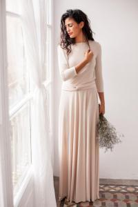 Long Sleeve Evening Dress, Champagne Maxi Dress, Long ...