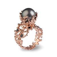 CORAL Tahitian Pearl Ring, Tahitian Pearl Engagement Ring ...