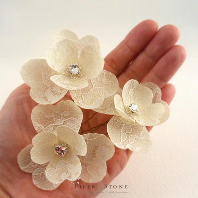 Swarovski Bridal Hair Flower, Lace Wedding Hair Flower