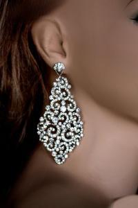 Big Bridal Earrings, Swarovski Crystal Earrings, Wedding