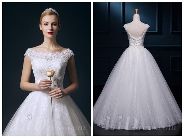 Straps Beaded Lace Ball Gown Wedding Dress #2553689