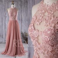 2016 Dusty Rose Bridesmaid Dress, Lace Transparent Wedding ...