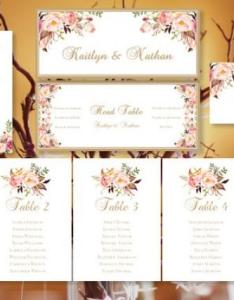 Wedding seating chart romantic blooms floral table sign templates number cards place tent compat with avery weddbook also rh