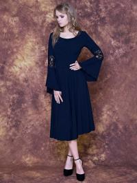 Tea Lenght Navy Dress With Bell Sleeves And Lace/ Navy ...