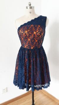 2015 One-shoulder Navy Blue Lace Orange Lining Short ...
