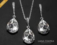 Crystal Bridal Jewelry Set Clear Crystal Earrings&Necklace
