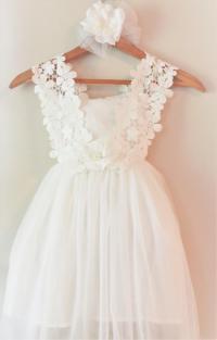 White Flower Girl Dress- White Lace Flower Girl Dress ...