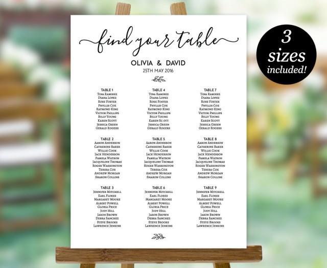 Wedding Seating Chart Template Printable Seating Plan