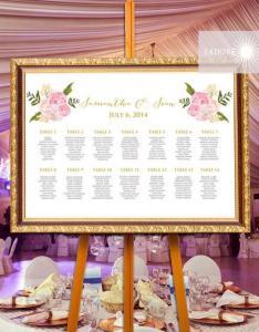 Floral seating chart calligraphy printable watercolor elegant chartjadorepaperie also wedding ideas weddbook rh