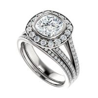 1.80 (7mm) Cushion Forever One Moissanite & Diamond ...