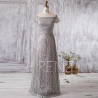 2016 Silver Lace Bridesmaid Dress Long, Short Sleeves ...