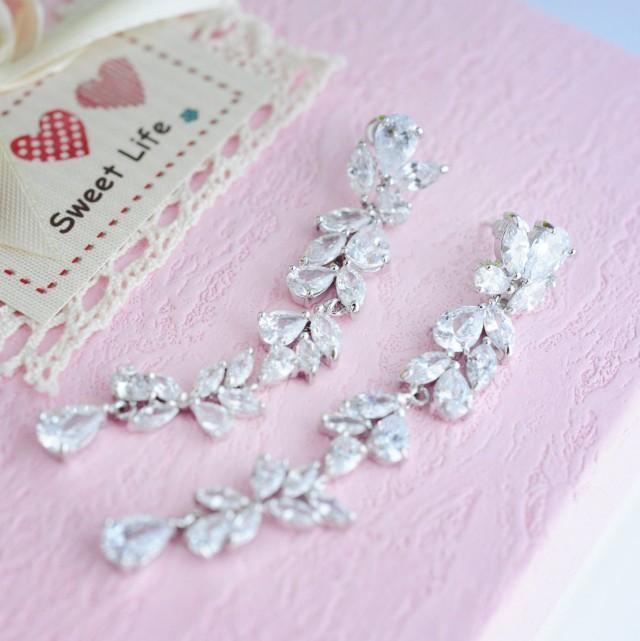 Bridal Long Earrings Wedding Earrings Extra Long Earrings