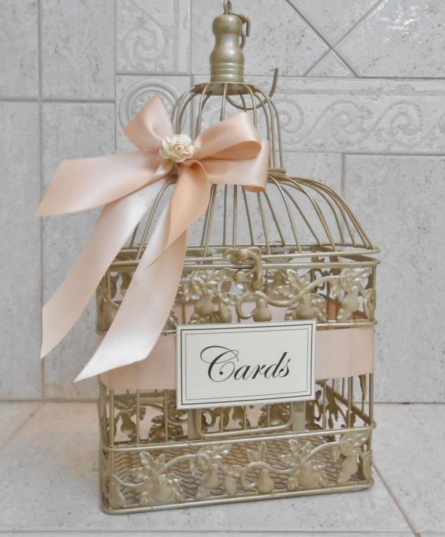 Small Champagne Gold And Blush Wedding Card Box  Wedding Card Holder  Birdcage Card Holder