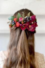 burgundy floral bridal comb boho