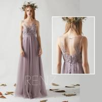 Bridesmaid Dress Dark Mauve Tulle Dress,Beaded Boat Neck ...