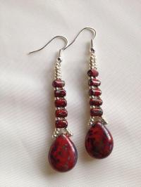 Red Wedding - Picasso Red Beaded Earrings #2037962 - Weddbook