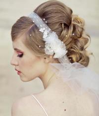 Wedding Veil Tie Headband Of Net And Vintage Flowers ...