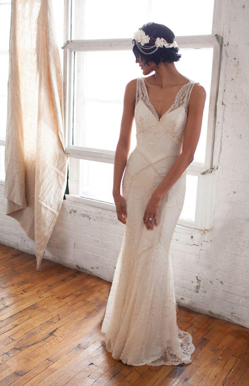 Wulstige Spitze Art Deco Der 1930er Jahre Inspiriert rmelloses Brautkleid Mit Bias Silk Slip