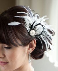 Wedding Hair Accessory, Bridal Feather Fascinator, Black ...