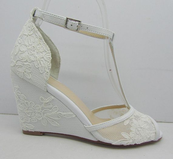 White Lace Wedding ShoesLace Wedge Bridal ShoesPeeptoes