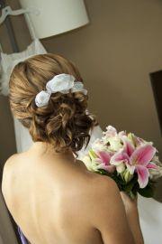 white lily flower bridal hair pins