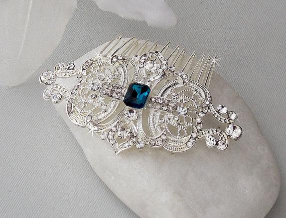 art deco hair comb swarovski crystal head piece bridal hair comb wedding hair comb bridal accessories vintage hair comb veronica