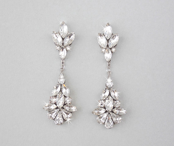 Wedding Earrings Chandelier Bridal Vintage Crystal Dangle Teardrop Jewelry